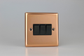 Varilight Polished Copper 3-Gang 10A 1- or 2-Way Rocker Switch - XY3B.CU